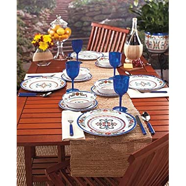 Outdoor Escapes Collection 12-Pc. Dinnerware Set 12-Pc. Dinnerware Set includes:•4 Salad plates, 8-1/4  dia., each •4 Bowls, 7  dia., each; holds 25 oz., each •4 Dinner plates, 11  dia., each