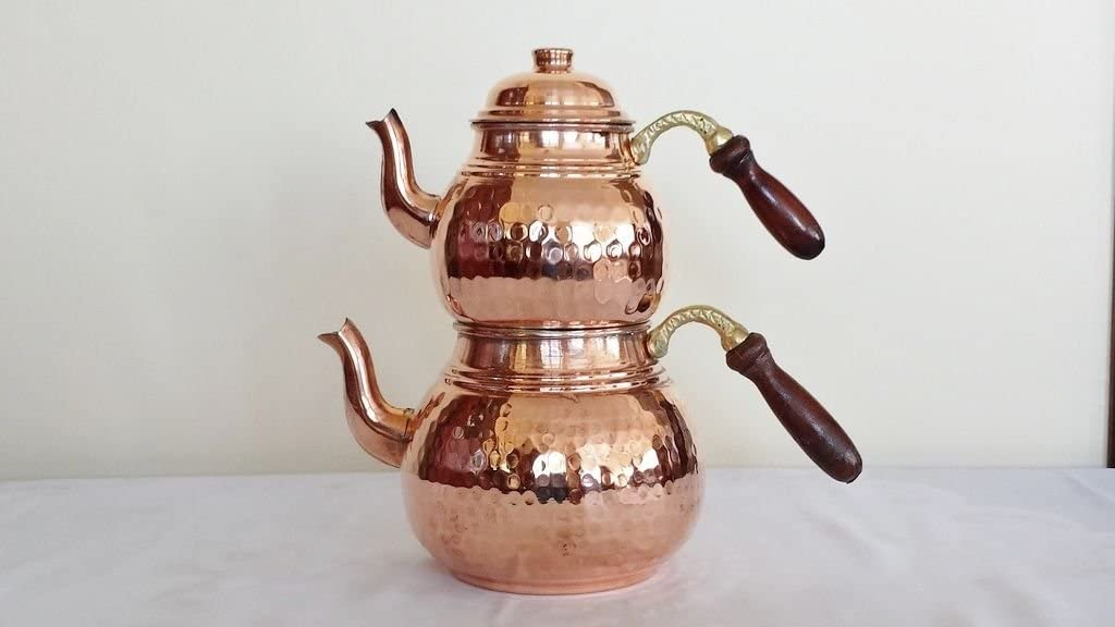 Handmade Turkish Copper Ottoman Stylish Inlaid Antique Teapot Kettle Tea Samovar