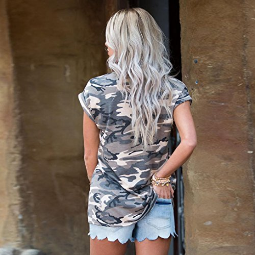 Women's Tops,Neartime Short Sleeve Camouflage T-Shirt With Fake Pocket (XL, Camouflage) Photo #4