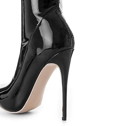 Best 4U® Zapatos cálidos de invierno para mujer de charol con tacones de aguja  con punta en la rodilla Botas altas Slouch estilo casual negro  Amazon.es   ... 4b790d219df9