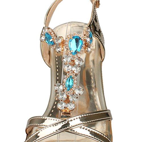 AIYOUMEI Damen Lackleder Offene Blockabsatz Knöchelriemchen T-spangen Sandalen mit Strass und 5cm Absatz Chunky Heel Bequem Schuhe Gold