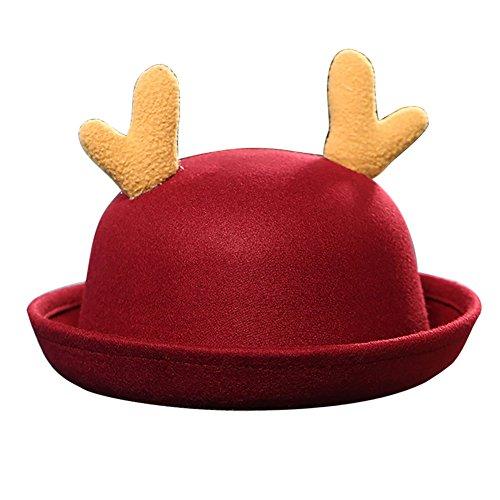 Anatoky Aantoky Baby Girls Trendy Cute Women Wool Felt Bowler Hat Elk Antlers Cap With (Felt Top Female Hat)