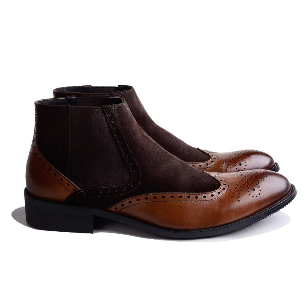 Männer Leder Komfortable Schuhe Business Casual Gummi Komfortable Leder Atmungs Broch Carved Braun 9ea4f0