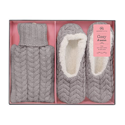 Aroma Home Mini Hot Water Bottle and Cosy Slippers by Aroma Home