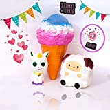 Palm Blue 4 Piece Jumbo Squishy Toys for Kids - Kawaii Fun Slow Rising Animal and Food Squishies - Stress Relief Unicorn, Ice Cream, Sheep, & Surprise Squishy Squeeze Toy
