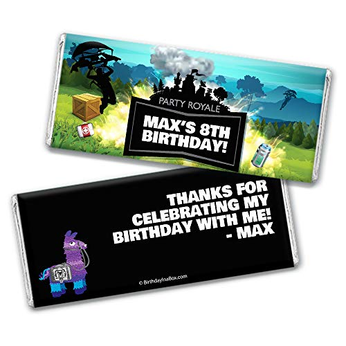 Personalized Kid's Birthday Battle Game Wrappers for Hershey's Chocolate Bar Candy Favors (25 Wrappers) - Silver Foil ()