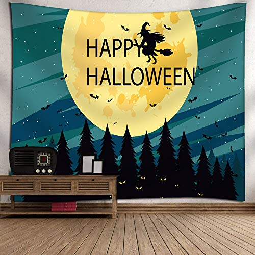 Gbell Kids Boys Girls Adults Room Halloween Moon Pumpkin Tapestry Decoration,Lightweight Soft Grand Room Wall Bedspread Art Hanging Blanket Gifts for Halloween Dorm House Decor,1Pcs,130×150CM (C) -