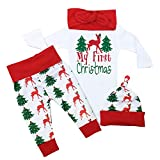 Christmas Outfit Baby Girls My First Christmas Romper Bodysuit Onesie Deer Christmas Tree Print Pants 0-3 Months White