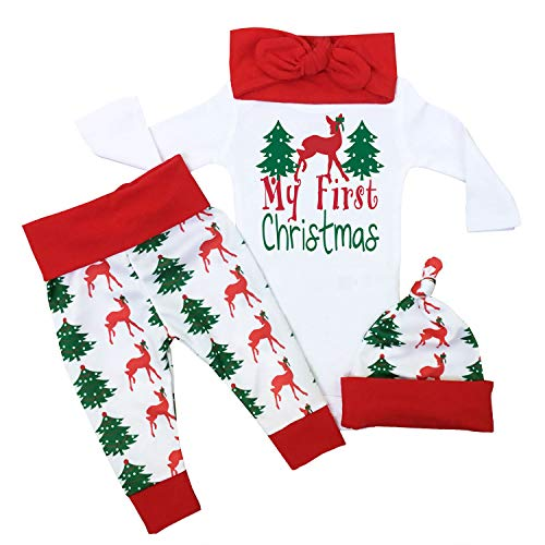 Uaena Christmas Outfit Baby Girls My First Christmas Romper Bodysuit Onesie Deer Christmas Tree Print Pants 0-3 Months