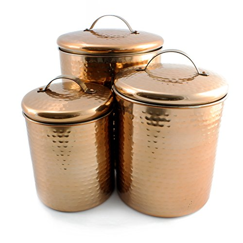 3-Piece Hammered Copper & Stainless Steel Canister Set (1Qt / 2 Qt / 4 Qt)