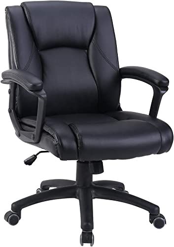 Zenith Ergonomic PU Leather Mid Back Executive Office Chair with Adjustable Height, Computer Chair Desk Chair Task Chair Swivel Chair Guest Chair Reception Chairs Black