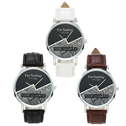 Top Plaza Unisex Simple Casual Silver Tone Analog Watch Geometric Pattern No Number Dial PU Leather Strap Quartz Watch(Pack of 3) by Top Plaza (Image #1)
