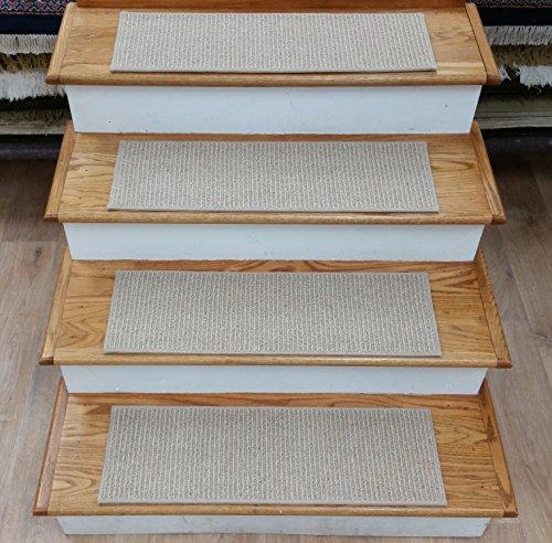 Camel Stripes Rug - Rug Depot 182433 Casual Stripe Wool Non Slip Carpet Stair Treads - Set of 13 Treads 28