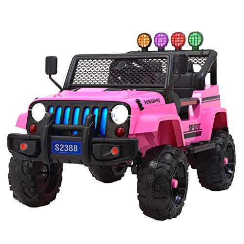 Uenjoy Jeep Kids Ride on Cars Wrangler Electric Power Motorized Vehicles w/ Remote Control, Spring Suspension Wheels, Music& Story Playing, Colorful Lights, Sunshine Model, Pink