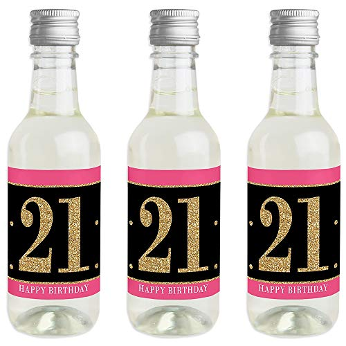 Finally 21 Girl - 21st Birthday - Mini Wine and Champagne Bottle Label Stickers - 21st Birthday Party Favor Gift for Women and Men - Set of 16]()