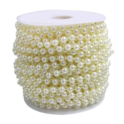 Wispun 6mm Pearl Bead Garland Spool Rope Wedding Centerpiece Decor 20M=65ft -
