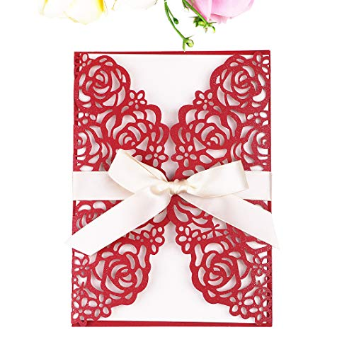 Red And White Wedding Invitations - PONATIA 25 PCS 5.12 x 7.1'' 250GSM Laser Cut Hollow Rose Wedding Invitations Cards with Ivory Ribbons for Bridal Shower Engagement Birthday Graduation Invitation (Red)