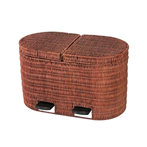 (Trash Bin 2 in 1 Rattan Woven Pedal Indoor Dustbins Home Kitchen Double Barrel Trash Can Bins Waste Recycling Rubbish Garbage Bin 5L Garbage Storage (Color : Brown))