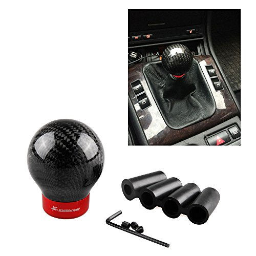 RYANSTAR Manual/Automatic Car Real Carbon Fiber Ball Gear Shift Shifter Knob Head
