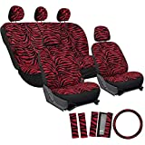 Motorup America Zebra Auto Seat Cover - Animal Print Full Set - Fits Select Vehicles Car Truck Van SUV - Red