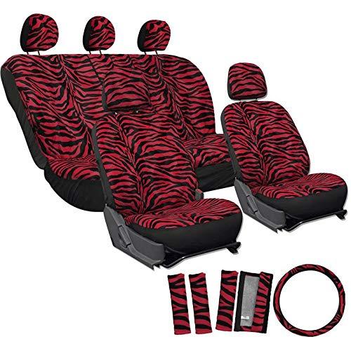 Motorup America Zebra Auto Seat Cover - Animal Print Full Set - Fits Select Vehicles Car Truck Van SUV - Red by Motorup America