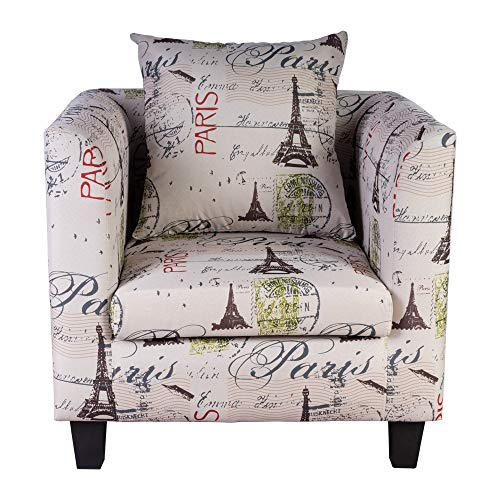 Irene House Club Chair Tub Linen Fabric Armchair Seat Accent Living Room (Eiffel Tower)