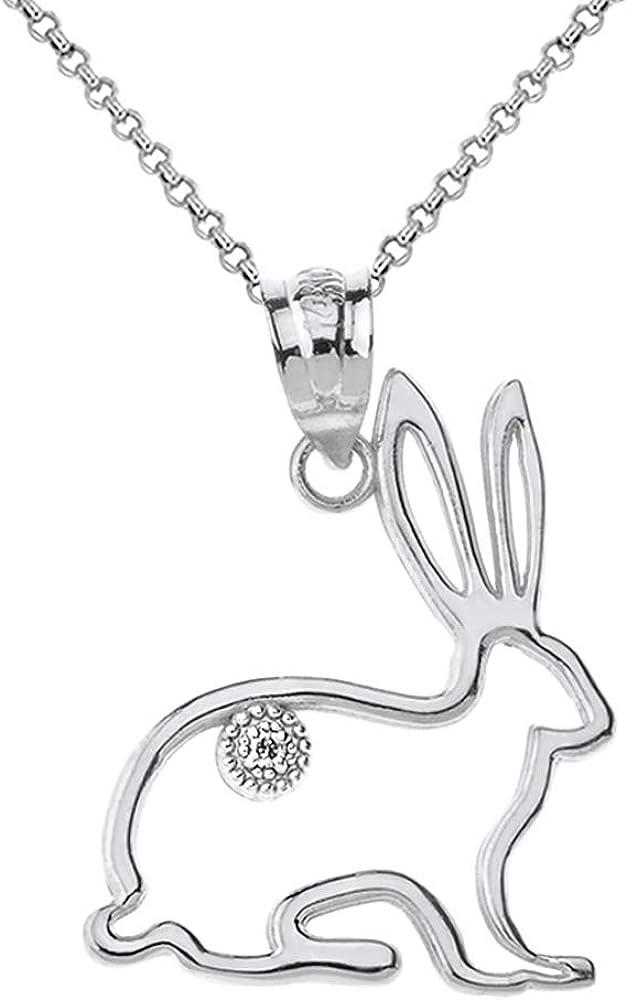 Solid Gold Diamond Jack Rabbit Outline Openwork Pendant Necklace