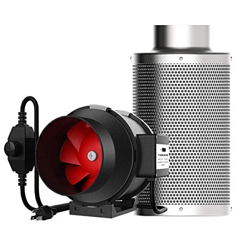 VIVOHOME 4 Inch 188 CFM Inline Duct Fan with 4 Inch Carbon Filter Odor Control and Australia Virgin Charcoal Combo Set