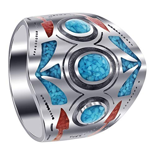 Gem Avenue Mens 925 Sterling Silver Southwestern Style Turquoise & Coral Chip Inlay Ring