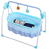 Electric Baby bassinet Swing - Music Remoter Control Sleeping Basket Bed the best gift for mom(Blue)