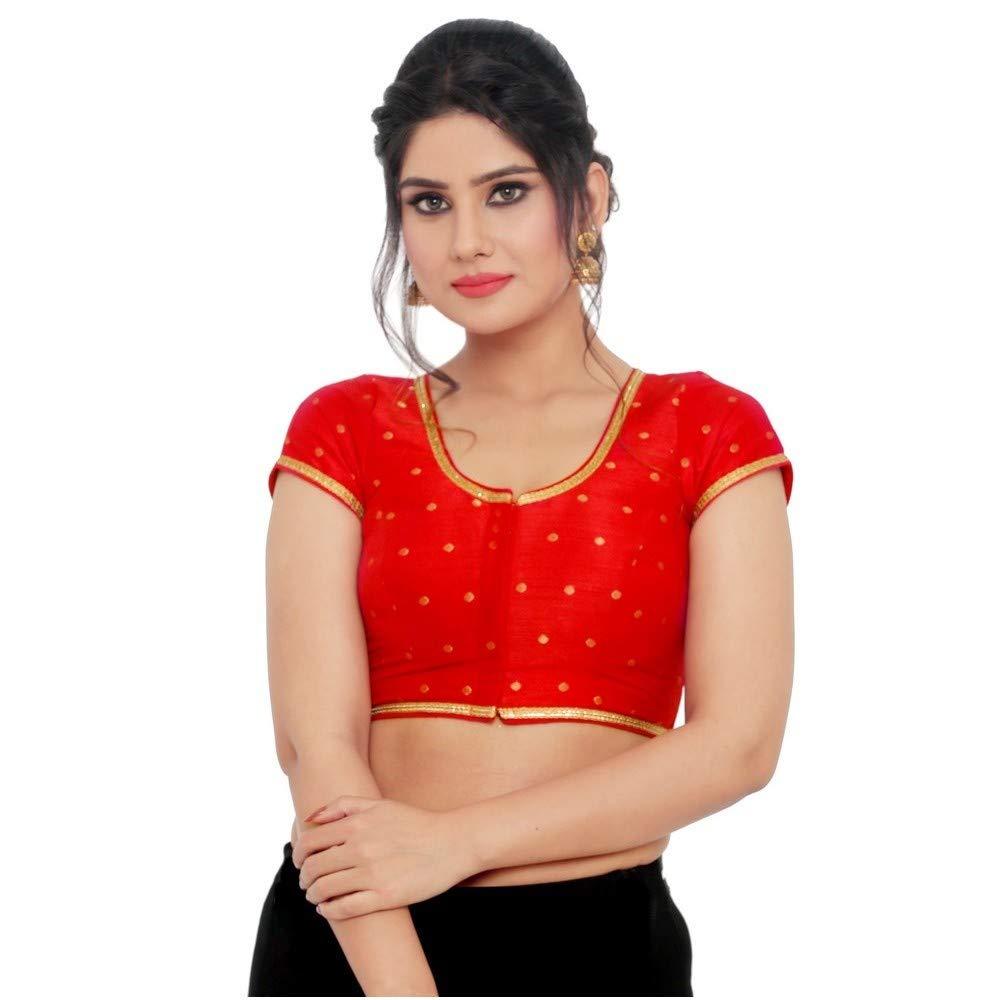 Designer Indian Traditional Red Brocade Padded Short Sleeves Saree Blouse Choli (X767Sl)