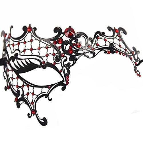 Signstek Glossy Metal Filigree Phantom Half Eye Mask for Venetian Masquerade (Black/Red -