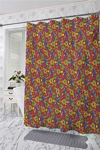 Colorful Funny Shower Curtain Stained Glass Style Pattern with Flower Motifs Geometrical Star Shapes Mosaic Tile Shower Curtain bar Multicolor W72 x L84