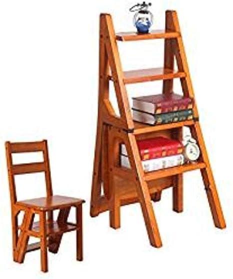 YONGMEI Taburete de Madera Maciza de 4 peldaños - Hogar con Muebles Convertibles multifunción Escalera de Silla de Madera Plegable (Color : A, Size : A): Amazon.es: Hogar