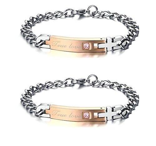 (Gnzoe 2Pcs LGBT Homosexual Women Set Bracelet Bangle Stainless Steel
