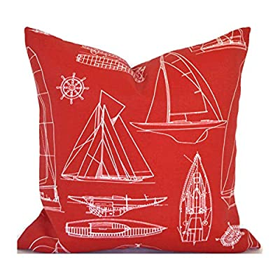 Flowershave357 Outdoor Pillows Outdoor Cushions Outdoor Pillow Covers Decorative Pillows Outdoor Cushion Covers Euro Pillow Sailing Red: Kitchen & Dining