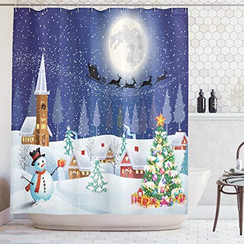 Christmas Sleigh Box - Ambesonne Christmas Shower Curtain, Winter Season Snowman Xmas Tree Santa Sleigh Moon Present Boxes Snow and Stars, Fabric Bathroom Decor Set with Hooks, 70 Inches, Blue White