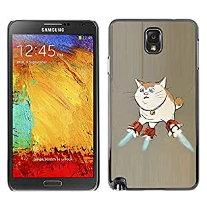 A-type Colorful Printed Hard Protective Back Case Cover Shell Skin for SAMSUNG Galaxy Note 3 III / N9000 / N9005 ( Cat Space Ship Art Super Powers Funny Art )