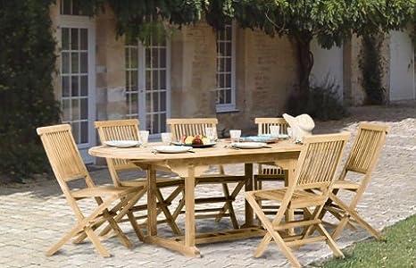 MACABANE 500923 Salon de Jardin Couleur Brut en Teck ...