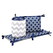 Navy Blue and Grey Geometric and Chevron Baby Crib Bumper by The Peanut Shell