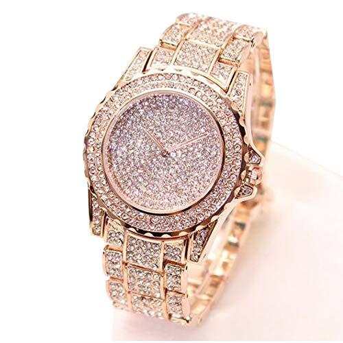 ARMRA Luxury Women Watch Bling Bling Fashion Jewelry Crystal Diamond Rhinestone Ladies Watches Steel Band Round Dial Analog Clock Classic Quartz Female Charm Bracelet Dress Wristwatches (Rose (Band Rhinestone Ladies Watch)