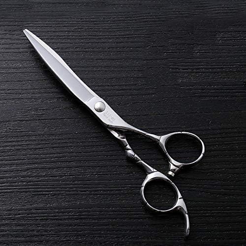 ヘアカット鋏 はさみ 6インチファイントリムプロフェッショナルフラットシアハイエンドステンレスフラット理髪はさみ ヘアトリミングシザー (Color : Silver)