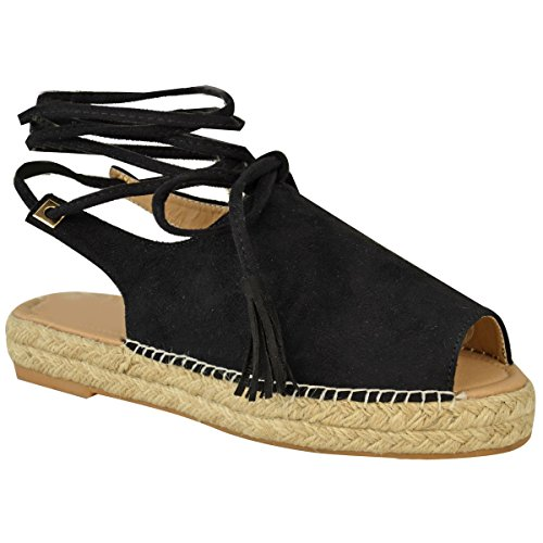 Fashion Thirsty Womens Lace Tie Up Strappy Low Flat Canvas Wedge Espadrilles Sandals Size 9