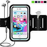 Sport Armband Water Resistant Running Case iPhone 8 Plus 7 Plus 6s Plus 6 Plus, Samsung Galaxy, LG, Moto case (Lifeproof/Others), Fitness Gym Workout Case Key/Card Holder, Cable Locker [Black]