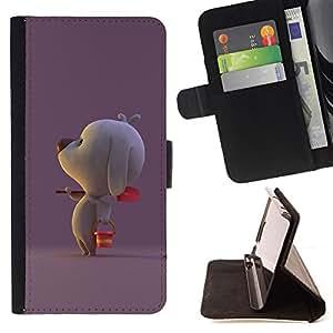BullDog Case - FOR/Apple Iphone 6 / - / cute poodle puppy breed dog purple /- Monedero de cuero de la PU Llevar cubierta de la caja con el ID Credit Card Slots Flip funda de cuer