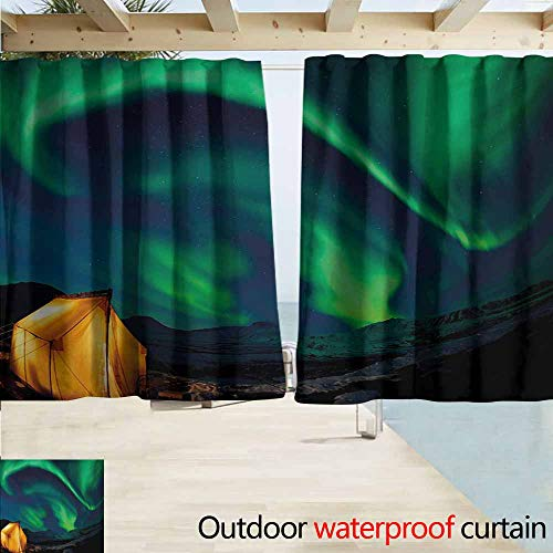 Radiant Rod Pocket - AndyTours Outdoor Blackout Curtains,Aurora Borealis Psychedelic Sky on Nordic Camping Radiant Energy Image,Rod Pocket Energy Efficient Thermal Insulated,W55x72L Inches,Forest Green Blue Earth Yellow