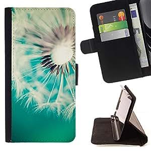 For Samsung Galaxy Note 3 III Case , Diente de león Teal Blanco Primavera Verano- la tarjeta de Crédito Slots PU Funda de cuero Monedero caso cubierta de piel