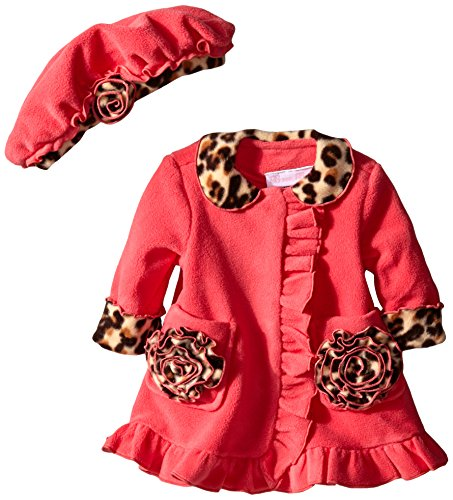 Bonnie Baby Girls' Coral Side Ruffle with Leopard Trim Fleece Coat and (Fleece Leopard Coat)