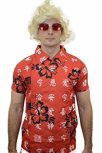 [Oem Men's Back To The Future Doc Chinese Character Shirt With Glasses M Red] (Chinese Doll Halloween Costume)