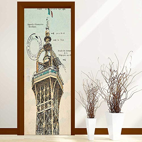 - Stickers Home Door Decoration Decor Collection Vintage Postcard with Eiffel Tower in Paris France 1910 Rare Antique for Living Bedroom W17.1 x H78.7 inch